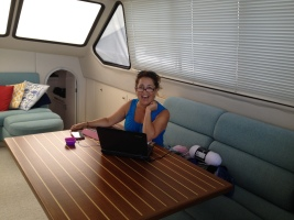 "Cathy in her ""office"""